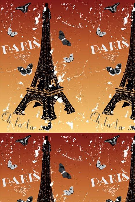 Vinylová Tapeta Paříž - vintage plakát s Eiffelovou věží, motýly a francouzská - Evropská města
