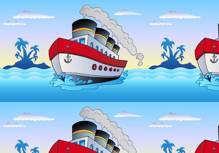 Tapeta Pixerstick Parník plující v moři - Lodě
