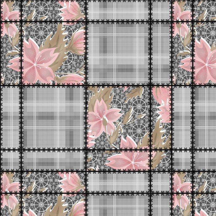 Vinylová Tapeta Patchwork bezproblémové krajka retro květiny vzorek - Pozadí