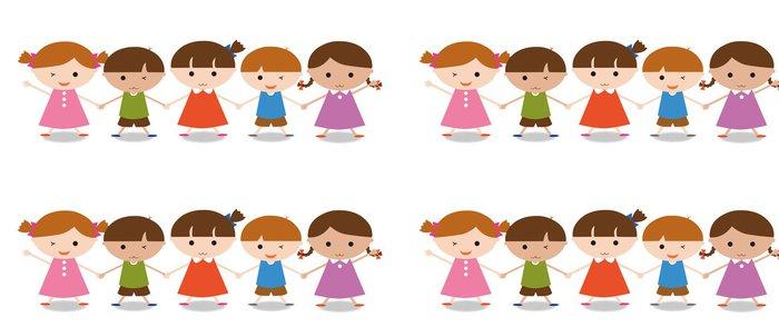 Tapeta Pixerstick Pět dětí - Vzdělávání