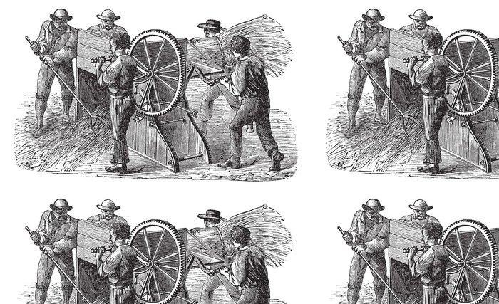 Tapeta Pixerstick Pět lidí, kteří používají mlátičce také známý jako mlácení mac - Zemědělství