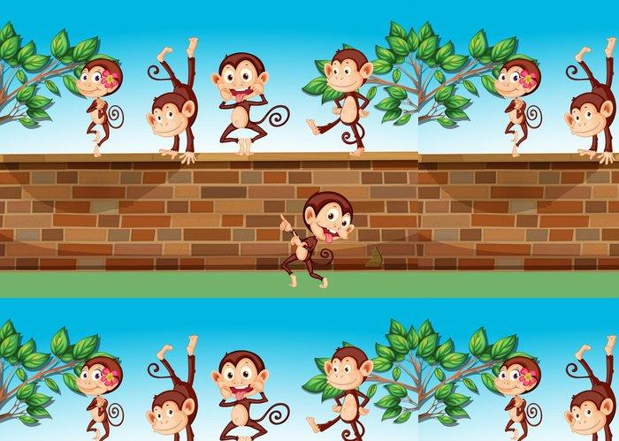 Tapeta Pixerstick Pět opice hrát na plot - Savci