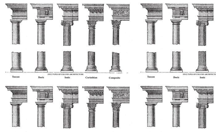 Tapeta Pixerstick Pět typů starý sloupec architekturu staré rytiny - Veřejné budovy