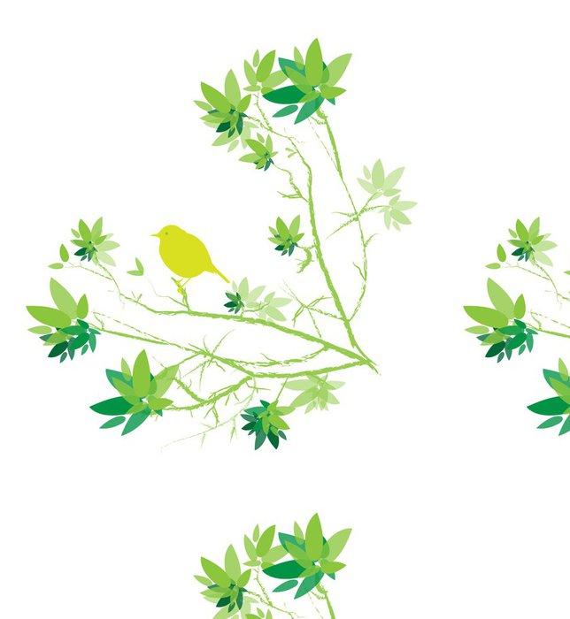 Tapeta Pixerstick Petit oiseau sur obor avec feuilles vert sur fond blanc - Ptáci