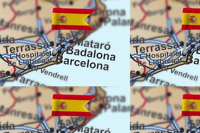 Tapeta Pixerstick Pin s vlajkou Španělska v Barceloně - Evropská města