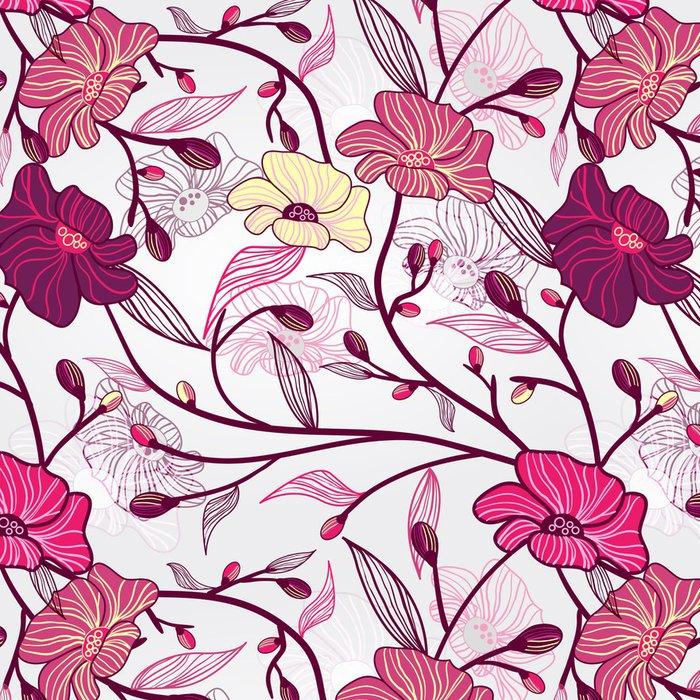 Tapeta Pixerstick Pink Floral Pattern - Květiny