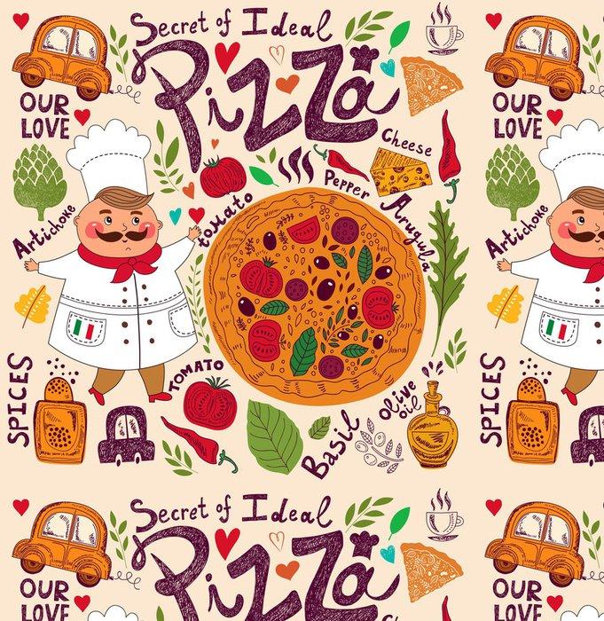 Tapeta Pixerstick Pizza provedení menu s kuchařem - Evropská města