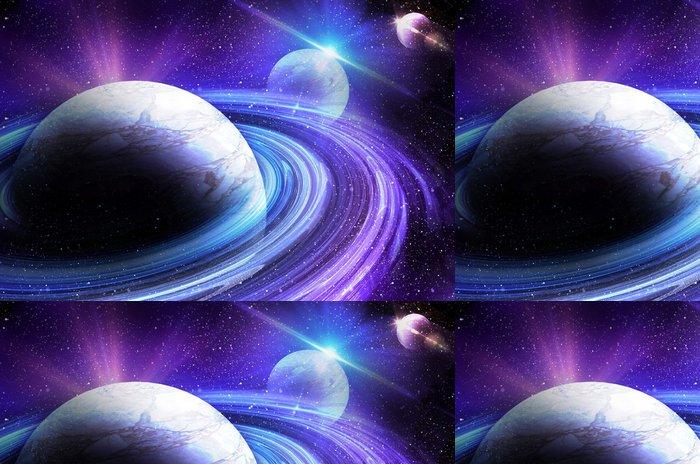 Tapeta Pixerstick Planeta s východem slunce na pozadí hvězd - Témata
