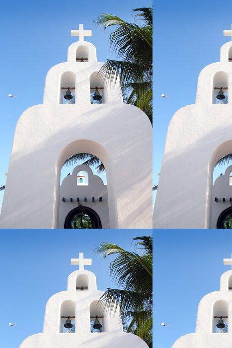 Tapeta Pixerstick Playa del Carmen bílá mexický kostel oblouků zvonice - Amerika