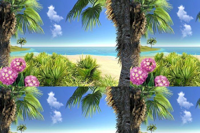 Vinylová Tapeta Pláž, palmy a květiny - Oceánie