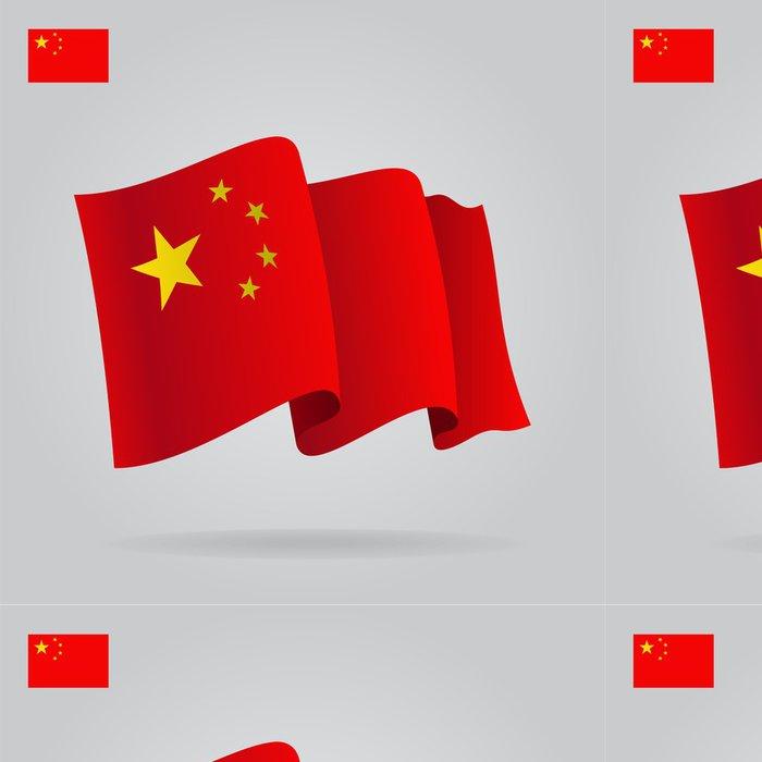 Tapeta Pixerstick Ploché a mávat čínské vlajky. Vektor - Značky a symboly