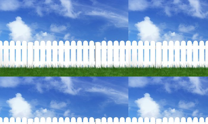 Tapeta Pixerstick Plot s zelené trávy a modrá obloha - Nebe