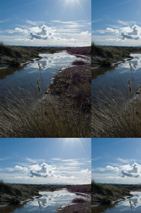 Tapeta Pixerstick Pobřežní potok s krásné prosluněné nebe - Nebe