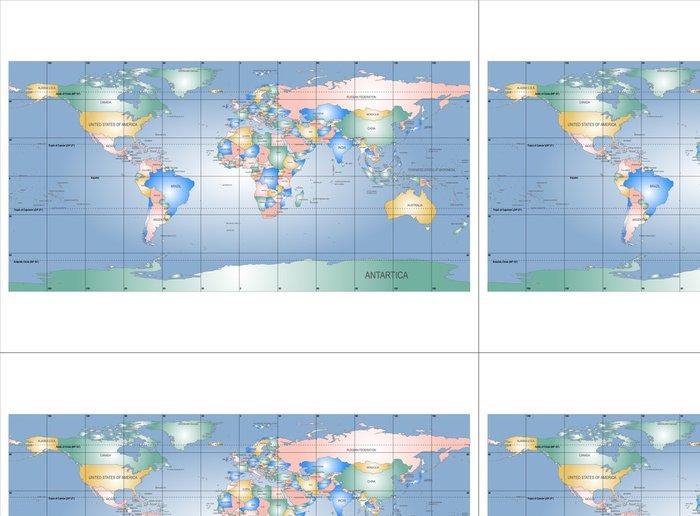 Tapeta Pixerstick Podrobná mapa světa s názvy zemí, vektor izolovaný g - Značky a symboly