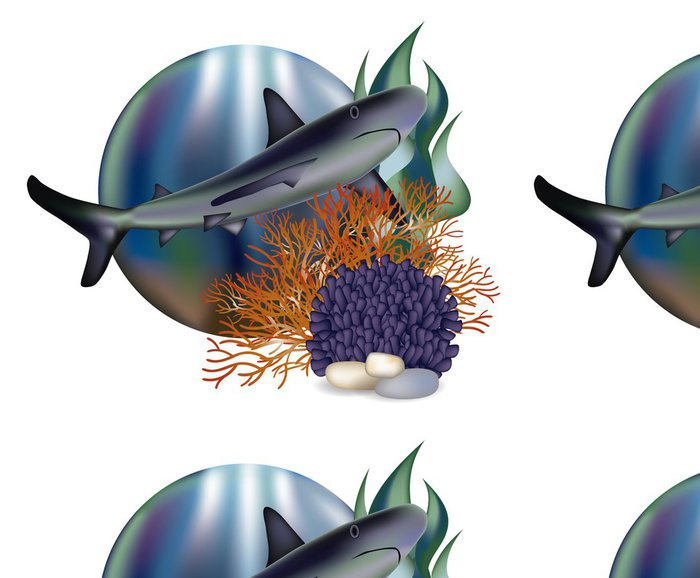 Tapeta Pixerstick Podvodní svět banner s žraloka, vektorové ilustrace - Pozadí
