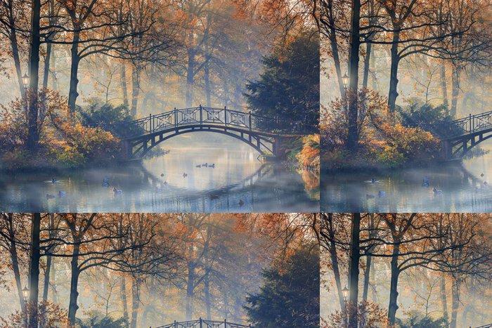 Tapeta Pixerstick Podzim - Starý most v podzimním mlhavé parku - Témata