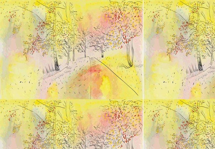Tapeta Pixerstick Podzimní krajina - Stromy