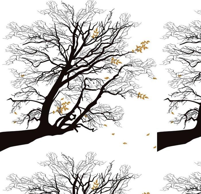 Tapeta Pixerstick Podzimní větev stromu na bílém - Styly
