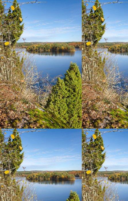 Tapeta Pixerstick Podzimy vertikální výhledem na jezero - Roční období