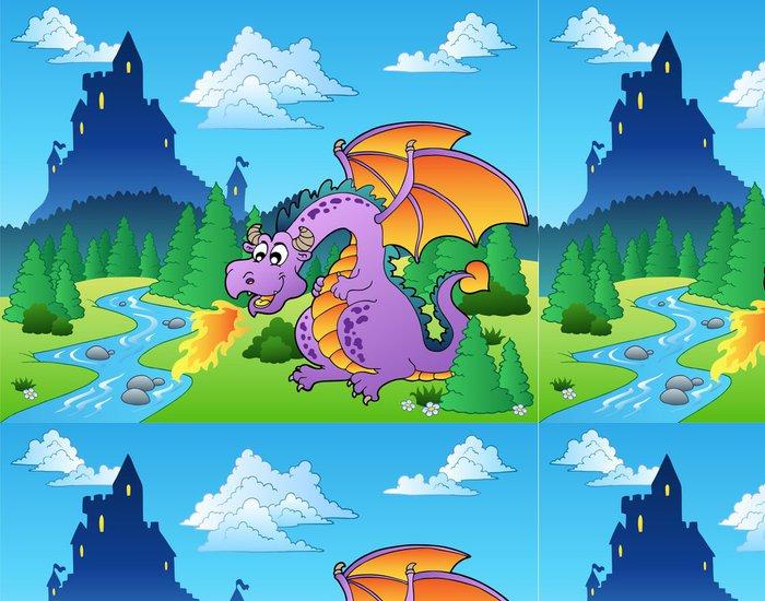 Tapeta Pixerstick Pohádka obraz s drakem 1 - Témata
