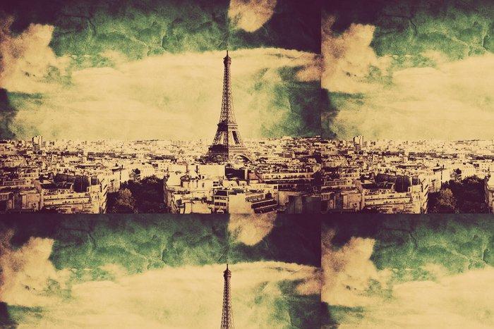 Vinylová Tapeta Pohled na Eiffelovu věž a Paříži, Francie. Retro vintage styl - Témata