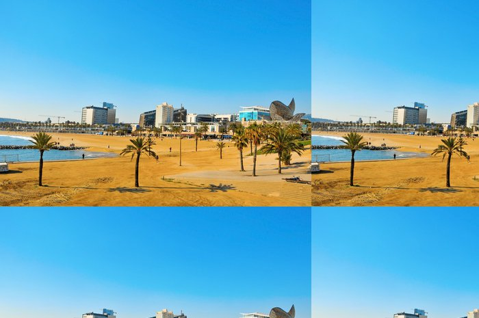 Tapeta Pixerstick Pohled na pláž Barceloneta v Barceloně, ve Španělsku - Evropská města