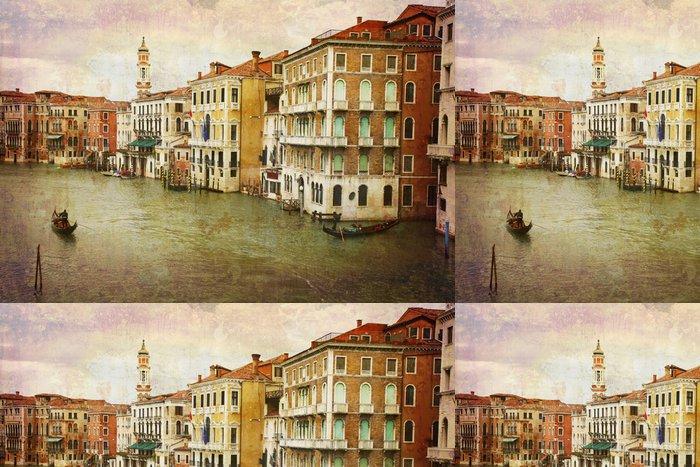 Tapeta Pixerstick Pohlednice z Itálie. - Gondoly Grand Canal - Benátky. - Témata