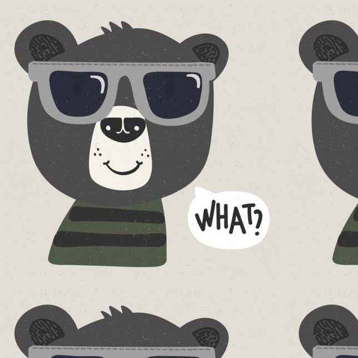Tapeta Pixerstick Pohodě karikatura medvěd se slunečními brýlemi - Zvířata