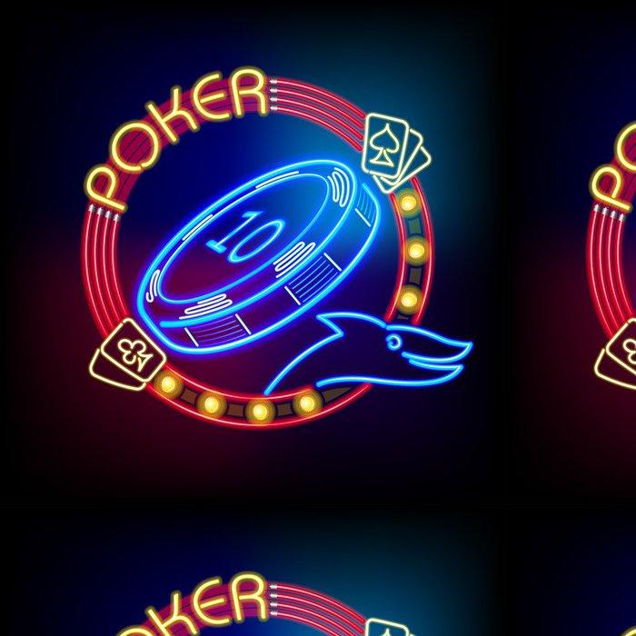 Tapeta Pixerstick Poker Casino žeton v neonové světlo - Zábava