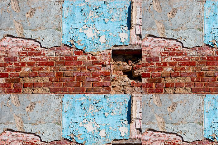 Tapeta Pixerstick Polovina malované a polovina zvětralé cihlové zdi. Texturou. Vintage hledá detail. - Pozadí