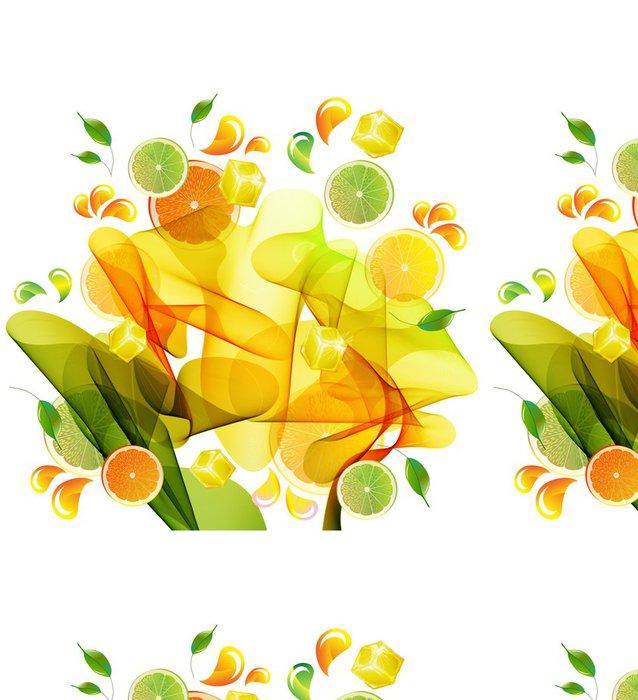 Vinylová Tapeta Pomeranč, citron a citronová šťáva stříkající - Nálepka na stěny