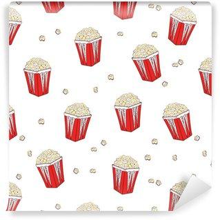 Vinylová Tapeta Popcorn bezešvé vzor. vektorové pozadí s pop corn boxes izolovaných na bílém.