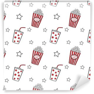 Tapeta Winylowa Popcorn i pić doodle wektor, bez szwu.