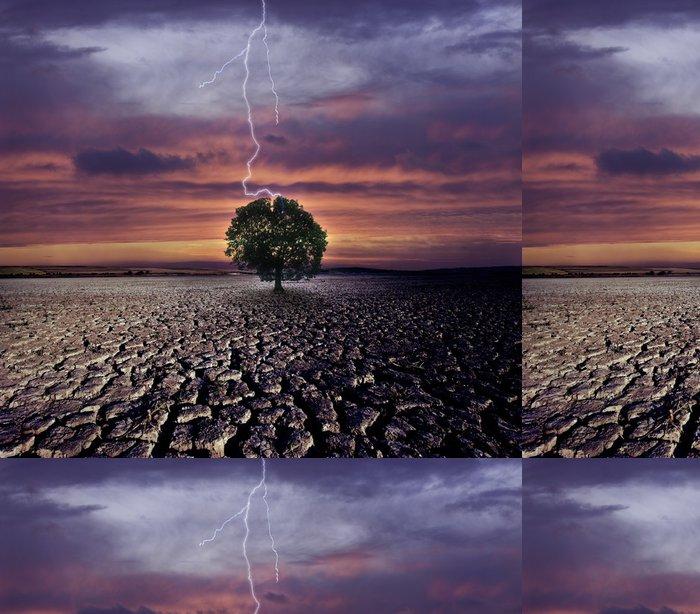Tapeta Pixerstick Popraskané země a údery blesku na jednom stromě - Život