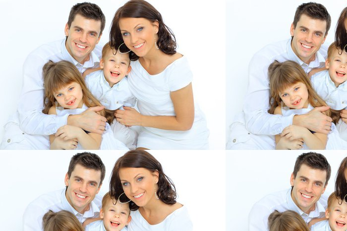 Vinylová Tapeta Portrét šťastné rodiny s úsměvem do kamery - Rodinný život