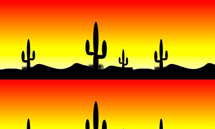 Tapeta Pixerstick Pouštní slunce s kaktusů - Amerika