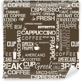 Vinylová Tapeta Pozadí bezešvé dlaždice kávy slova a symboly