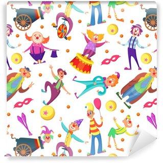 Vinylová Tapeta Pozadí pro pohlednice. bezešvé vzorek s legrační klauni v kresleném stylu