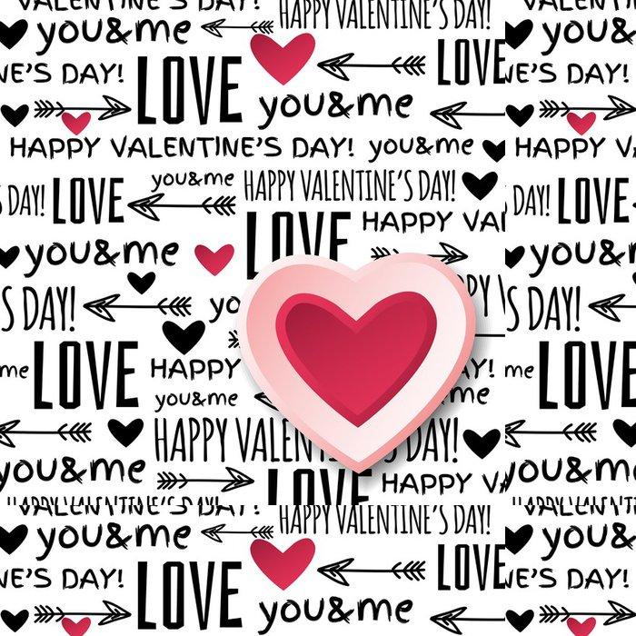 Tapeta Pixerstick Pozadí s červenou valentine srdce a přání textu, vektoru - Mezinárodní svátky