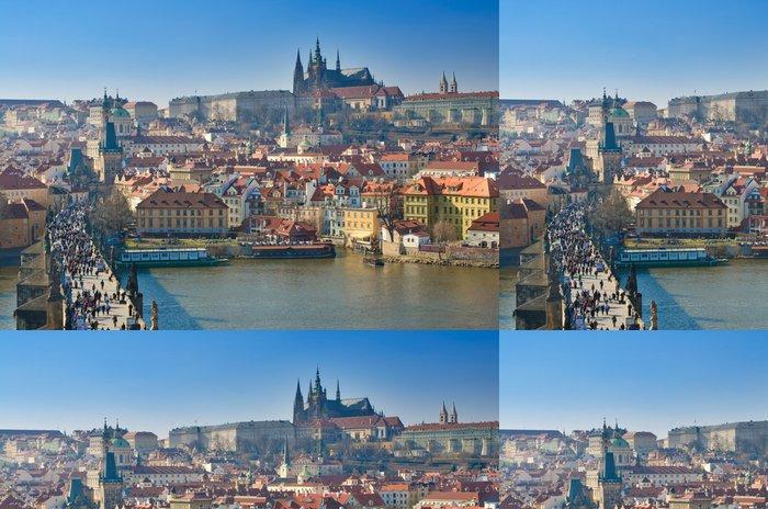 Tapeta Pixerstick Praha, Karlův most a Pražský hrad, Vltava panoramatická - Evropská města