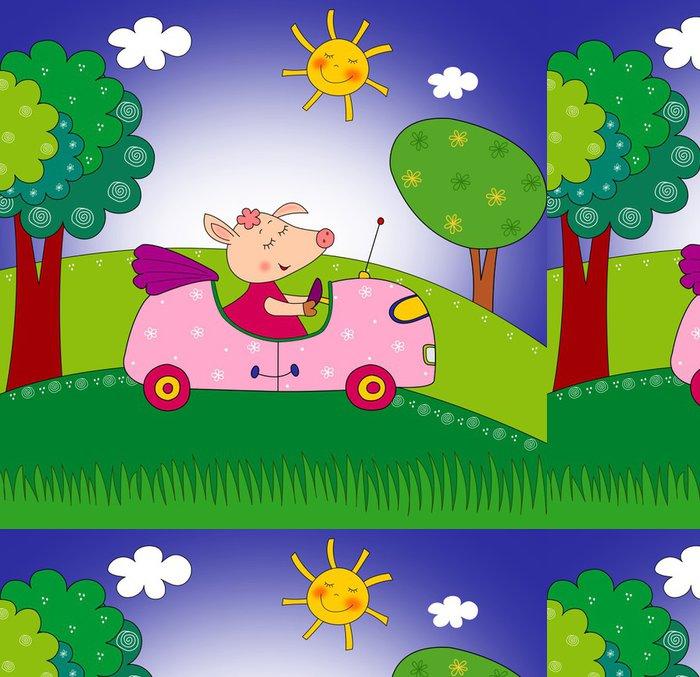 Vinylová Tapeta Prasátko na auto. Ilustrace pro děti - Osud