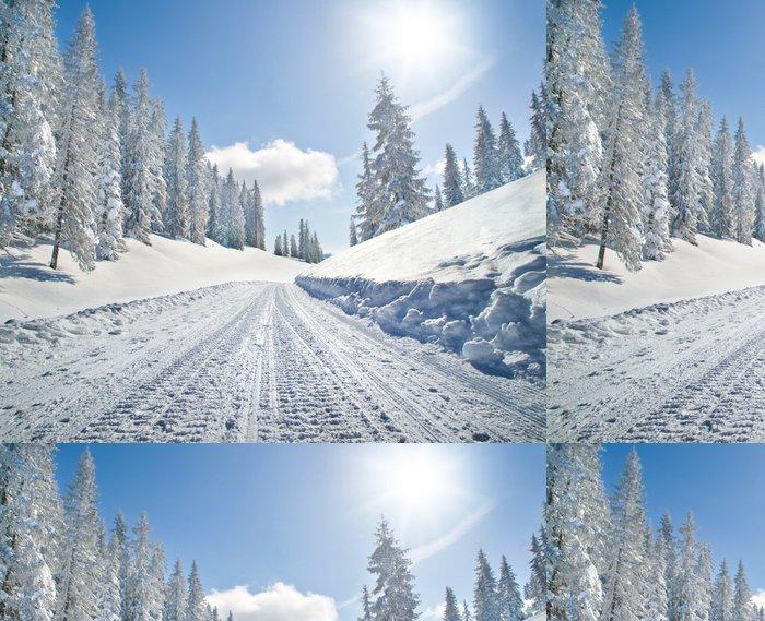 Tapeta Pixerstick Prázdný zasněžené silnici zimní krajině - Témata