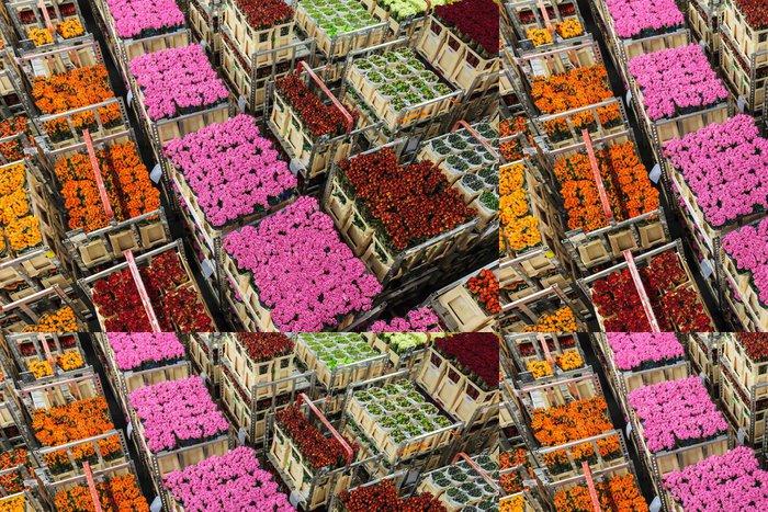 Vinylová Tapeta Přepravky s květinami a jinými rostlinami na květinovou aukci - Zemědělství