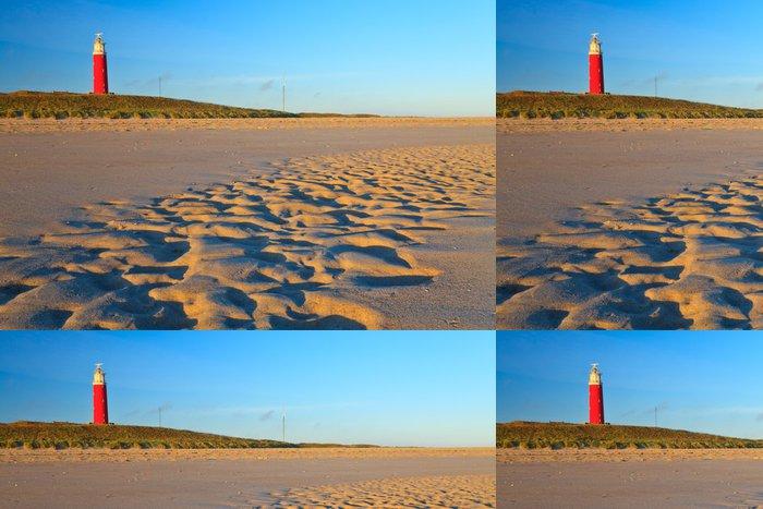 Tapeta Pixerstick Přímořské s písečnými dunami a maják při západu slunce - Evropa
