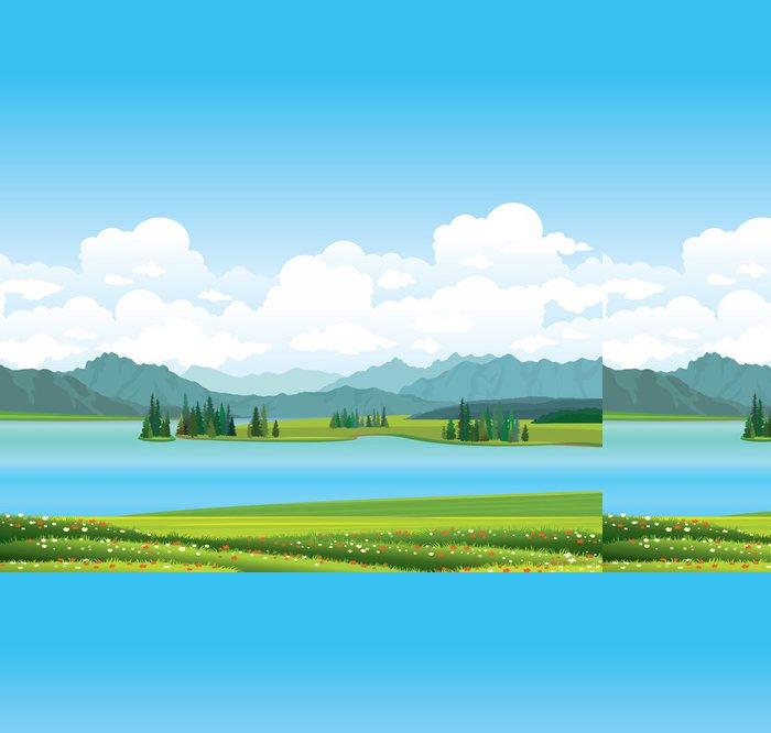 Tapeta Pixerstick Příroda krajina - tráva, jezero a hory. - Nebe