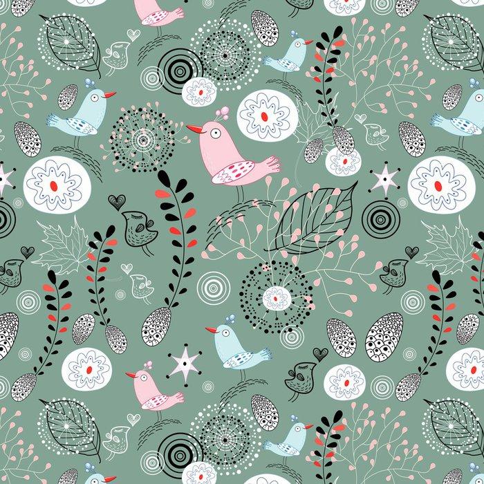 Tapeta Pixerstick Přírodní vzor s ptáky - Roční období