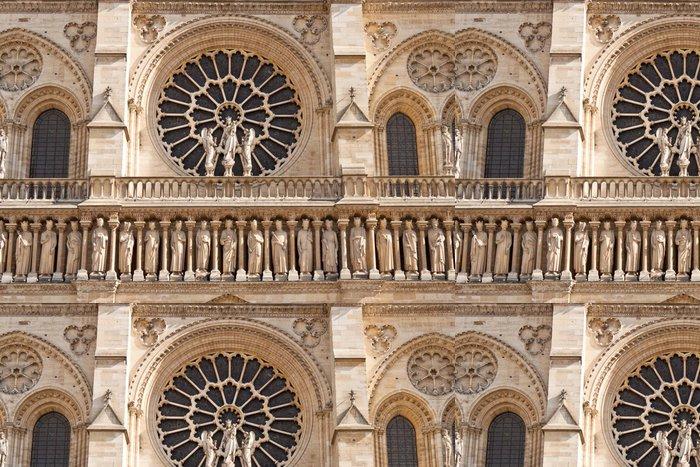 Tapeta Pixerstick Průčelí chrámu Notre-Dame de Paris katedrály - Veřejné budovy