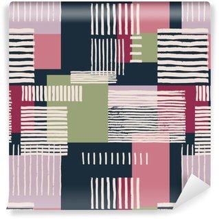Vinylová Tapeta Pruhovaný geometrický vzor bezešvé. Ručně tažené nerovné pruhy na barevné obdélníky, volné uspořádání. Růžové a zelené tóny na námořnicky modrém pozadí. Textilní design.