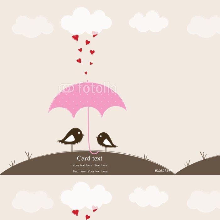 Vinylová Tapeta Ptáci pod deštníkem. Romantický karta - Národní svátky