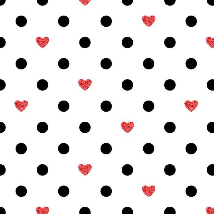 Tapeta Pixerstick Puntíky vzor s červeným srdcem. Romantické pozadí. - Pozadí